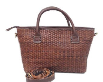 Woven Leather Tote Small