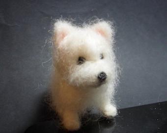 Tutorial needle felted dog, West Highland terrier, Westie, needle felted Westie, felt Westie, needle felt tutorial, felting tutorial