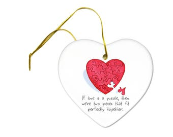 If Love is a Puzzle Heart on a Heart Ceramic Hanging Ornament