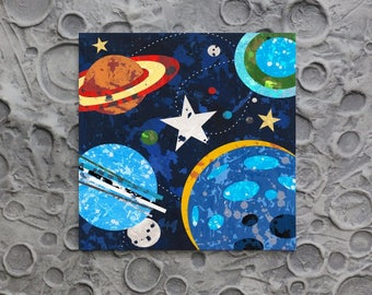 Space Planet Stars and Solar System wall art decor for boys rooms, playrooms and for the junior astronomer.