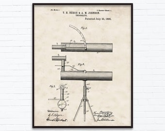 Theodolite Patent Drawings-July Birthday Gift Ideas - Printable Posters of 4 Styles, INSTANT DOWNLOAD - 07/23/1895