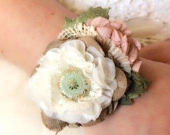 Wrist Corsage - Corsage for Wedding - Unique Wedding Jewelry - Bridesmaid Bracelets - Fabric Flower Bracelet - Corsage for Prom - Bridal
