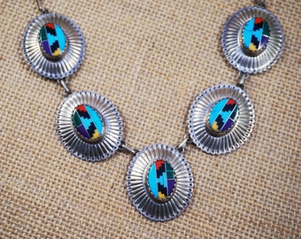 Native American Indian Sterling Silver 925 Concho Necklace with Hand Inlaid Turquoise, Coral, Sujulite, Malachite, Onyx Stones FREE Shipping
