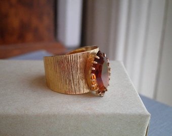 Sarah Coventry Ember Navette 1973 Gold Tone Amber Stone Ring Found by So Very Charming - Marquise Rhinestone Brass Ring Jewelry Gift For Her