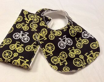 Baby boy bib and burp cloth set in Michael Miller bicycles in citron