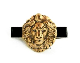 Antique Gold Lion Head Tie Clip Inlaid in Hand Painted Glossy Black Enamel Neo Victorian Safari Vintage Style Leo with Custom Color Options