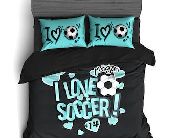 Amazing Custom Soccer Comforter, Soccer Duvet, Soccer Bedding, Black And Teal,  Personalized Soccer