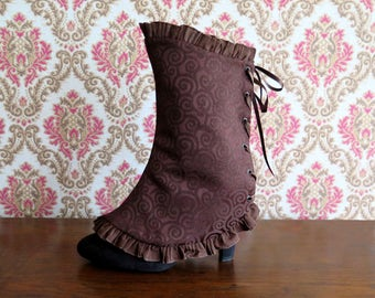 Victorian spats in brown damask with pleated trim, womens steampunk spats, reversible lace-up spats edwardian style, laceup shoecover