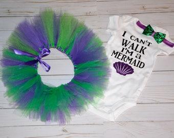 I Can't Walk I'm a Mermaid   Onesie Set   Baby Shower Gift   Girls Clothing Set   Mermaid onesie   Mermaid onesie set