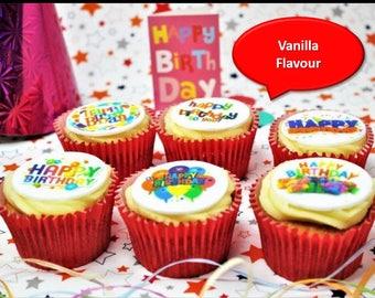 Happy Birthday Vanilla 6 Cupcake Gift Box