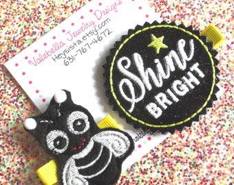 Hairclip Lightening Bug GLOW iN tHe DARK Shine Bright 3D Glow Bug black glitter vinyl glows glowing summer girl baby kids hair clip set