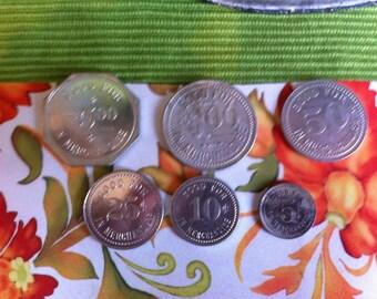 Set if 6 vintage trade tokens, F.P. DYE & Bro. Merc. Co Vandalia MO