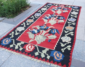 kilim rug,  kilim rug small, small kilim rug, black vintage rug turkish rug 535