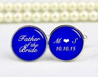 father of the bride cufflinks, royal blue, custom any text, colours, photo, personalized cufflinks, custom wedding cufflink, groom cufflinks