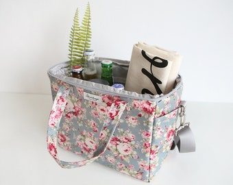 Insulated Flower Lunchbox- Waterproof Beverage Cooler Mint Picnic Bag 0101