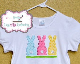 Easter Bunny Shirt boy girl kid child baby toddler infant embroidery applique custom monogram name personalized spring