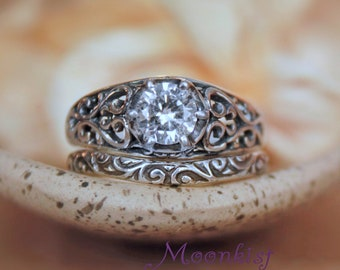 Filigree White Sapphire Engagement Ring & Curved Wedding Band - Sterling Silver Vintage-Style Sapphire Wedding Ring Set -Diamond Alternative