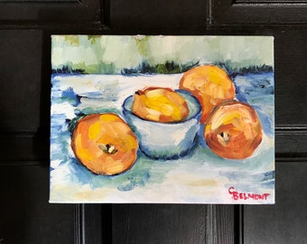 Four Lemons - Original Oil Painting, Cezanne-inspired kitchen art