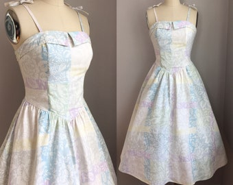 Vintage 1980's does 1950's Pastel Print Roses Full Skirt Sun Dress Sundress Size XS