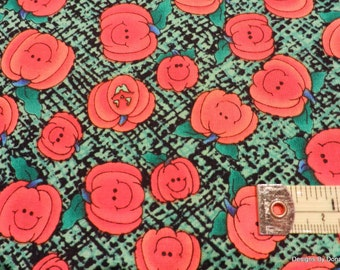 "One Yard Cut, ""Halloween"" Quilt Fabric, Cute Bright Orange Pumpkins on Green & Black by Grandma's Attic 4 SSI Fabric, Sewing-Quilt Supplies"
