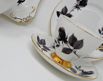 Gorgeous Black Roses Gladstone China Trio, Cup, Saucer and Tea Plate