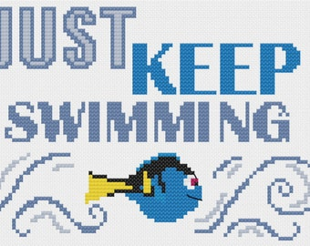 PDF Just Keep Swimming Cross Stitch Downloadable Digital Pattern
