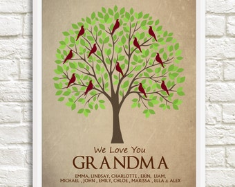 Gift for Grandma, Mother's Day Gift, Custom Family Tree, Grandma Family Tree, Personalized Grandparent Gift, Grandma Gift, Grandchildren