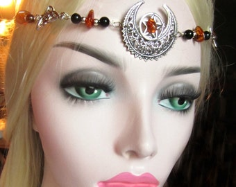 Amber and Jet Circlet, Triquetra Circlet, Pagan Ritual, Filigree crescent, Pentacle Circlet