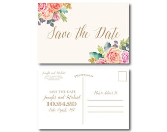 Save the Date Postcard Floral Save the Date Save Date Card Wedding Save the Date Floral Save Date Card Printed Save the Date #CL173