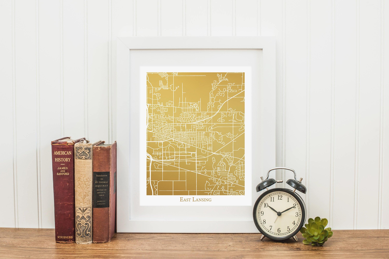 East Lansing Map Gold Foil Map™ of East Lansing MI Gold