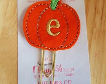 Pumpkin Initial Paper Clip