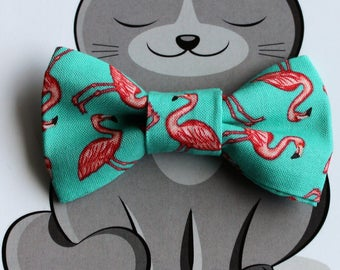 Flamingo Bow Tie for Cat or Dog, Pet Clothing, Slide on Collar Accessory, Pet Bowtie, Handmade in Canada, Coral, Teal, Birds, Summer