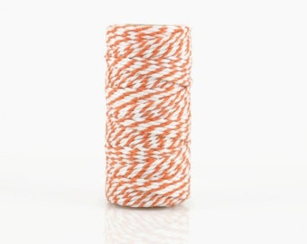 ORANGE BAKERS TWINE - Orange & White Two-tone Twisted Cotton String / Bakers Twine (20 meter spool)
