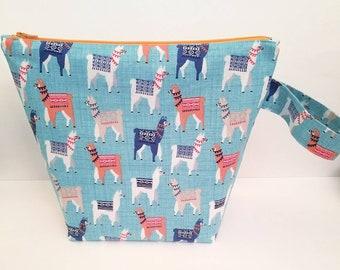 Alpaca Project Bag, Knitting Project Bag, Large Project Bag, Project Bag for Knitting, Llama Project Bag, Project Bag for Crochet