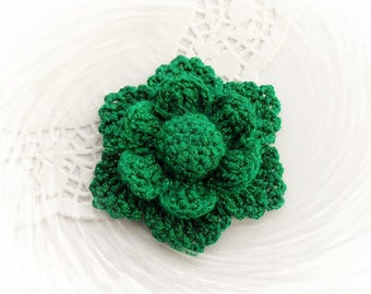 Crochet  Flower - Crochet Brooch - Green Shimmer Flower - Crochet Applique - Made to Order