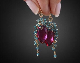 Hot Pink Quartz Earrings Gemstone Earrings Topaz Earrings Cluster Earrings Precious Earrings Pink Earrings Blue Earrings Drop Earrings