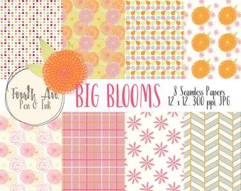 Floral Digital Paper, Colorful Flowers Digital Paper, Big Blooms Digital Paper, Bright, Colorful, Bridal, Nursery, Digital Paper Pack