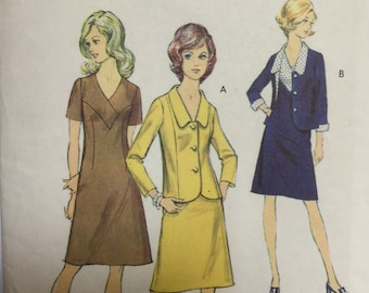 "Sewing Pattern - dress pattern with jacket, Vintage Sewing Pattern - Suit Pattern -  Bust 41"" - large size pattern - sewing patterns"