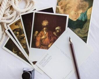 Rembrandt paintings_from Soviet museums_blank postcards_set of 16_vintage postcard set_high art_full unused_Aurora Art Publishers_Leningrad