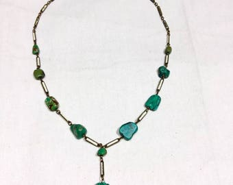 Old pawn vintage Navajo genuine TURQUOISE nugget 12k gold filled necklace