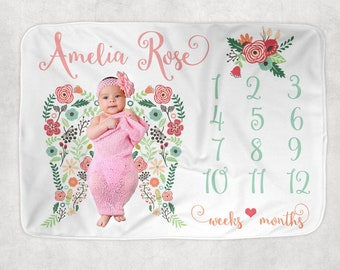 Baby Girl Milestone Blanket, Angel Wings Blanket, Newborn Photography Backdrop, Month Growth Chart Quilt, Personalized Girl Shower Gift
