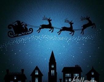 Santa & Reindeer Flying-Hoffman Fabrics-BTY