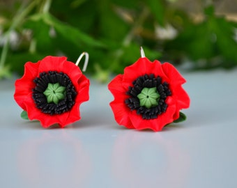 Red poppies earrings ring jewelry set. Red earrings. Poppy jewelry. Poppy accessories. Vyshyvanka earrings jewelry. Embroidery jewelry
