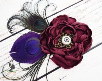 Handcrafted Steampunk Eye Fancy Peacock Hair Clip - Wine Purple and Black Hair Piece - Steampunk Fashion - Steampunk Wedding - Eye Bows