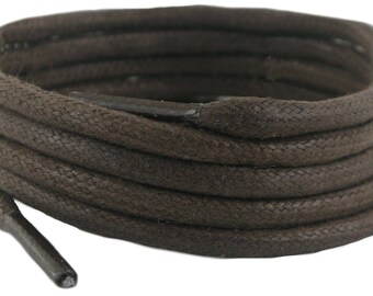 Laces  Brown waxed cotton 200 cm 5 mm round sold in 1 and 2 Pair Packs