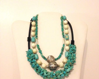 3 Turquoise Necklace Layered Necklace Lot Mother of Pearl Blue Necklace Boho Necklace Necklace Lot Bali Bead Necklace LOT PNDM
