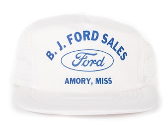 Vintage B.J. Ford Sales Hat / Ford Automotive Trucker Hat / White Mens Baseball Trucker Hat Cap / Trucker Cap / Baseball Cap / Baseball Hat