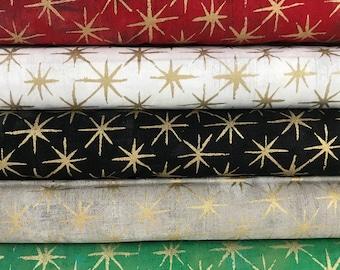 Bundle of 5 Grunge Seeing Stars Metallic Fabrics - Basic Grey - Metallic Stars - Moda Fabrics - Christmas Grunge