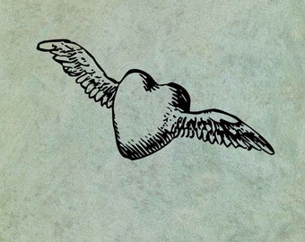 Winged Heart LARGE - Antique Style Clear Stamp