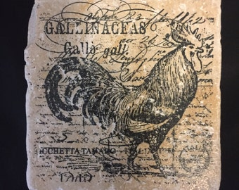 Rooster marble coasters hand stamped home decor farm animals barn country kitchen housewarming gift